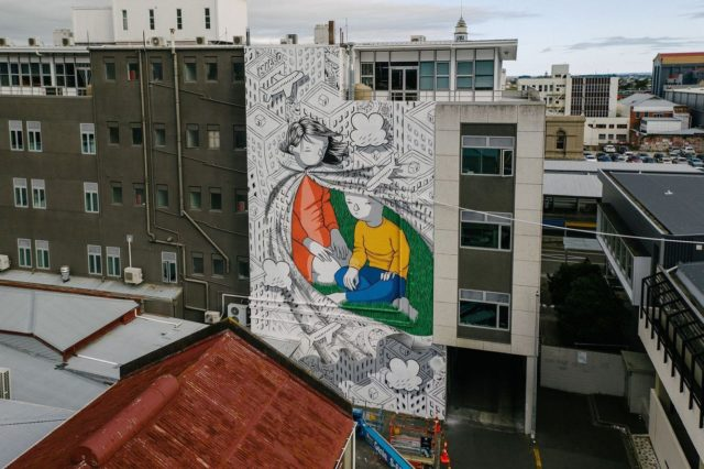 "Millo - Rome / Italy @_millo_ . Final Mural for Street Prints Papaioea 2020 - Located in Maple Laneway, Palmerston North 🙌🏽 . Repost by Millo . ""UNDER THE CLOAK OF PEACE"" ""KUA KAKAHUTIA TE RANGIMARIE"" This is the last mural I painted in Palmerston North, New Zealand for @street_prints Papaioea festival Co curated by @findac .  The festival inspiration was to combine art with Manawatū's rich history, beautiful lands and people, with the goal to bring together the local community. After the tragic Christchurch Mosque shootings of last year, Street Prints team felt the need to enlight the concept of unity and peace and to spread it as a message with no borders. Special thanks to all @street_prints team, @jah_smith_nz for making it happen.  Photography @yoshi_travel #millo #milloland #mural #muralart #urbanart #publicart #streetart #art #streetprints #underthecloakofpeace #peace #unity #palmerstonnorth #palmy #streetprints #streetprintspapaioea #papaioea #cloak #korowai #protection #peace"