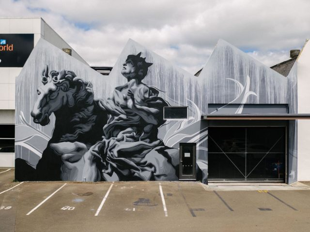 Eric Skotnes - Los Angeles / USA @zoueh_skotnes 🇺🇸 . Final Mural for Street Prints Papaioea 2020. Located in Jersey Lane, Palmerston North 🙌🏽 . Repost by Eric . Street Prints Papaioea @street_prints 📷: @mira_a_mire @yoshi_travel Assisted by: @anggiez24 #streetprintsnz #ericskotnes #zoueh . #streetprints #streetprintspapaioea #streetart #art #papaioea #palmerstonnorth #palmy #nz #aotearoa #artnz #mural