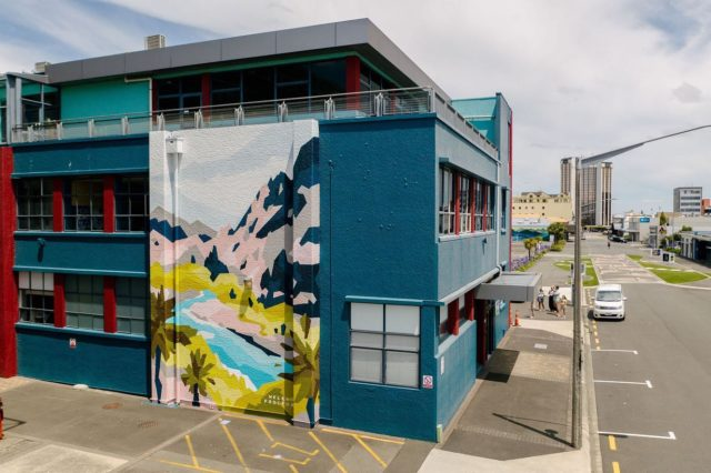 Helen Proctor - Amsterdam / Netherlands @helen__proctor . Final mural for Street Prints Papaioea 2020.  Located on @ucolnz Queen Street, Palmerston North 🙌🏽 . Repost by Helen . I painted a wall... this is me standing in front of it Big thanks to @street_prints for having me and all the amazing humans I met!  #moderncontemporary #contemporaryart #amsterdamart #amsterdam #abstractart #artist #landscapepainting #emergingart #emergingartist #youngcollectors #contemporaryartgallery #fineart #australianlandscapepainting #australianlandscape #helenproctor #amsterdamstreetart #syke #thisissyke #streetart #stencilart #abstract #mural #urbanart #streetart #femalestreetartist #streetprints . 📸 by @yoshi_travel_ . #palmerstonnorth #nz #palmy #papaioea @resenecolour @ucolnz